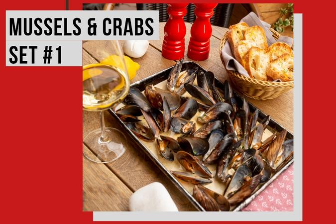 MUSSELS & CRABS SET + WINE